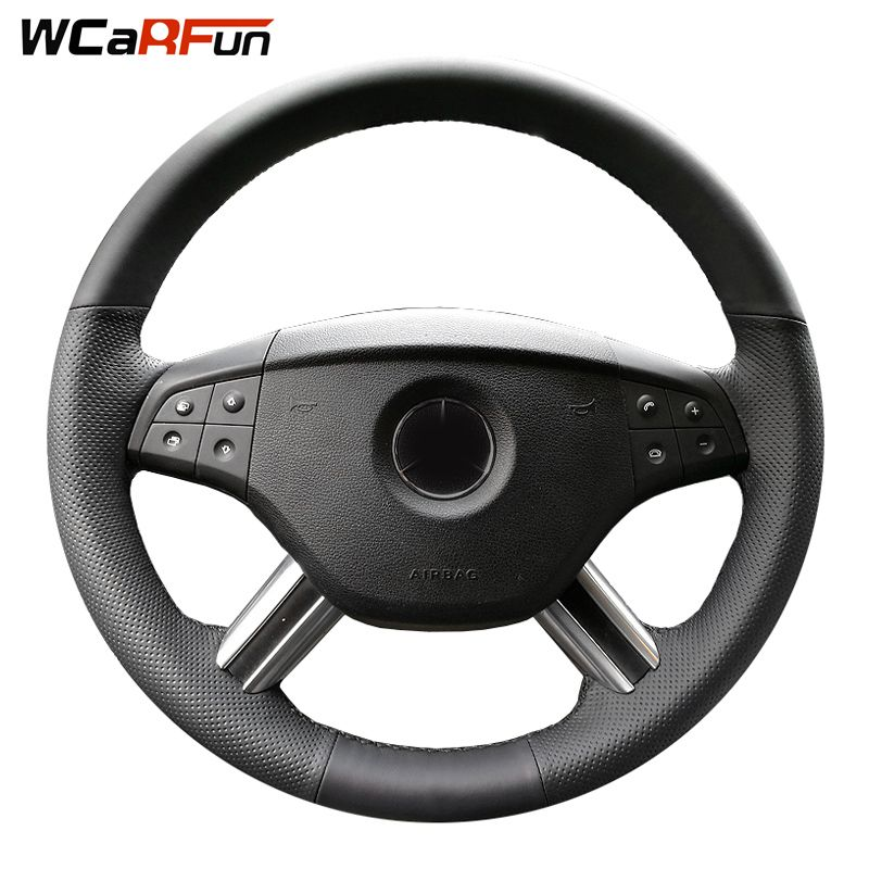 WCaRFun Black Artificial Leather Steering Wheel Cover for Mercedes Benz ML350 ML500 2005 2006 M-Class GL-Class GL450 2006-2009