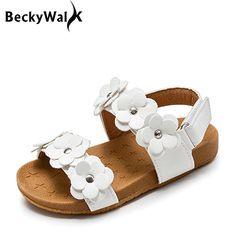 2018 Nuevo Verano Sandalias de Los Niños para Niñas Flores Princesa de La Muchacha de Cuero Suave Zapatos de Los Niños Sandalias de Playa Zapatos Del Niño Del Bebé CSH369