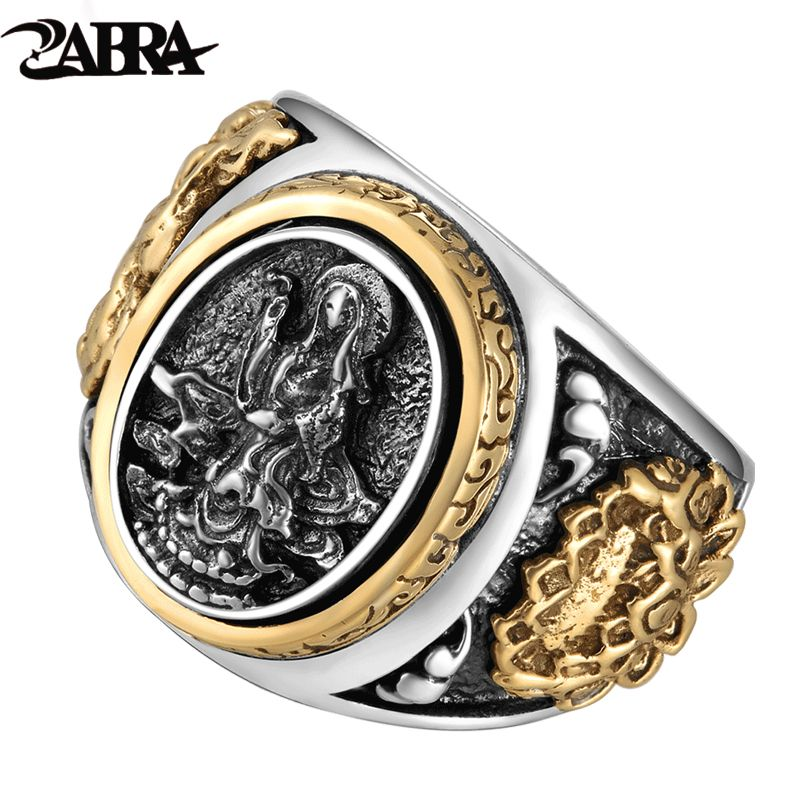 ZABRA <font><b>Vintage</b></font> Buddhism Goddess 925 Silver Dragon Male Ring Gold Retro Black Male Silver Ring Sterling Biker Man Rings Jewelry