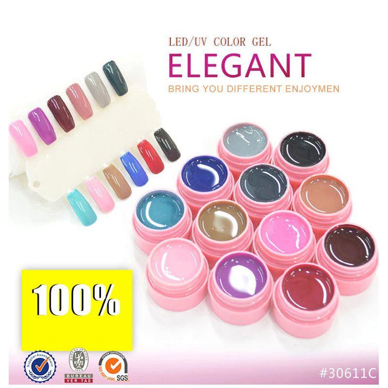 12 Colors LED UV Gel Cover Pure Soak Off Natural UV Nail Art Tips Elegant Series 125-136 CANNI