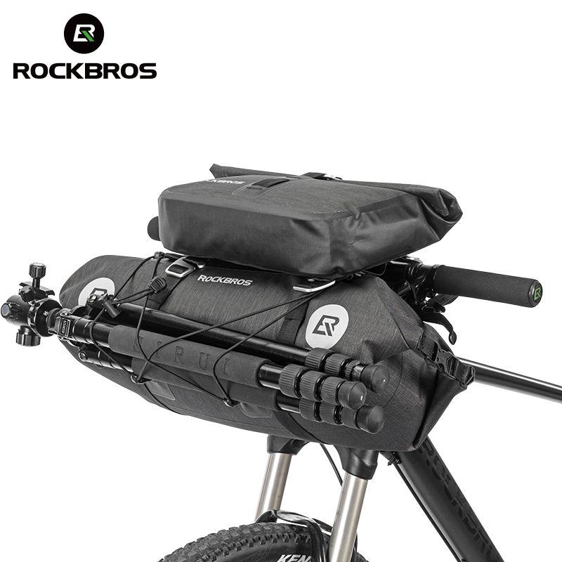 ROCKBROS Waterproof Bicycle Front Tube Bags Big Capacity MTB Cycling Handlebar Bags Front Frame Trunk Pannier Bike Accessories