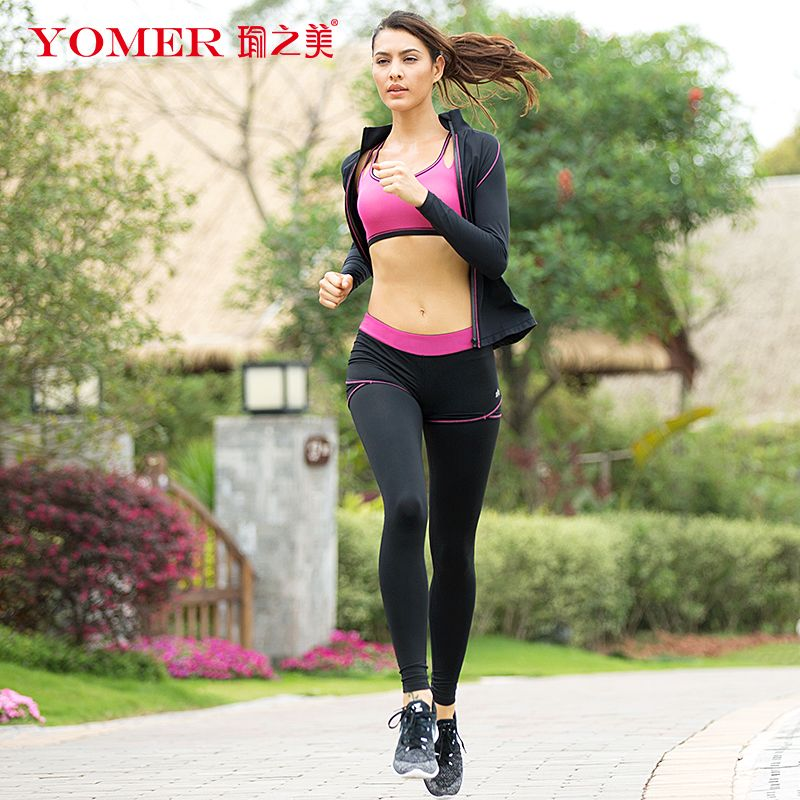 YOMER Women Yoga Sets Breathable Sportswear Fitness Suits Sports Bra Running Shirt Jacket Jogging Trainning Pants Shorts Spring