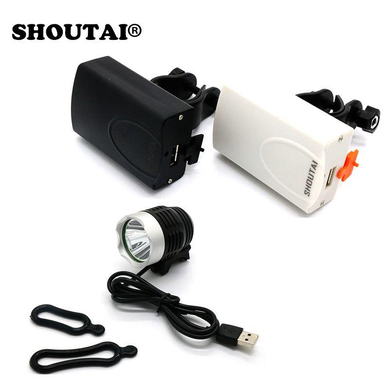 SHOUTAI 1200 Lumen T6 LED lumières de vélo étanche phare avant de vélo 3 Mode USB régulateur de tension générateur de Friction