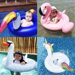 Flamingo/Unicorn/Swan/Toucan Baby Ride-on Swimming Ring Inflatable Pool Float For Kids Water Safety Seat Lounger boia Piscina