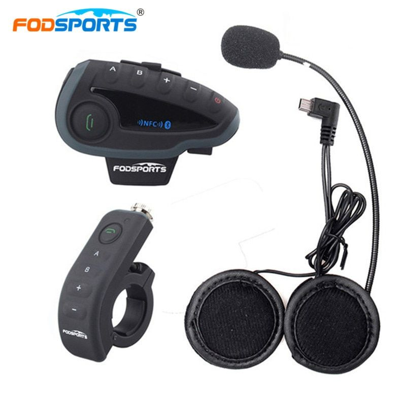 Fodsports V8 Pro BT Sprech mit Controller motocross Motorrad Helm Bluetooth Intercom 5 Reiter 1200 Mt Intercomunicador