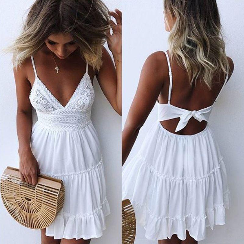 Été femmes dentelle robe Sexy dos nu v-cou robes de plage 2019 mode sans manches Spaghetti sangle décontracté Mini robe d'été