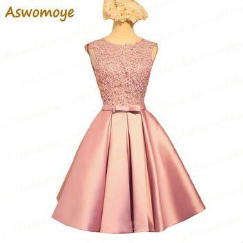 Aswomoye Court Demoiselle D'honneur Robe 2018 Nouveau Mariage Élégant Parti Robes Dos Nu Sexy O-cou Formelle PromDress robe de soirée