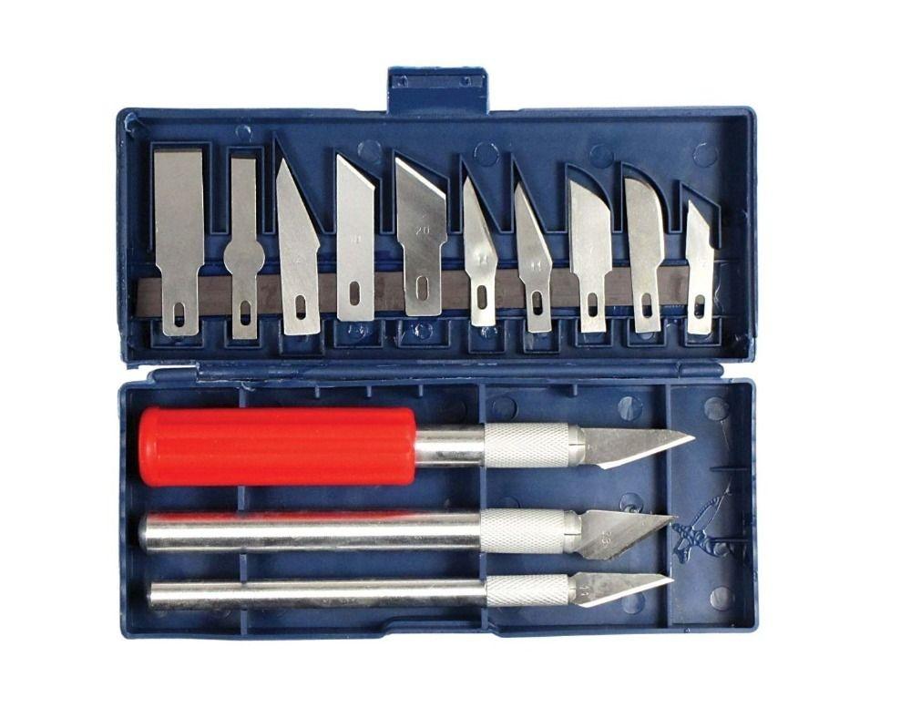 Nouveau 16 pc Exacto Style Multi-fonction Hobby Couteau Artisanat Sculpture Cutter Graver Sculpture Art Tool Set (13 lames + 3 Poignée)