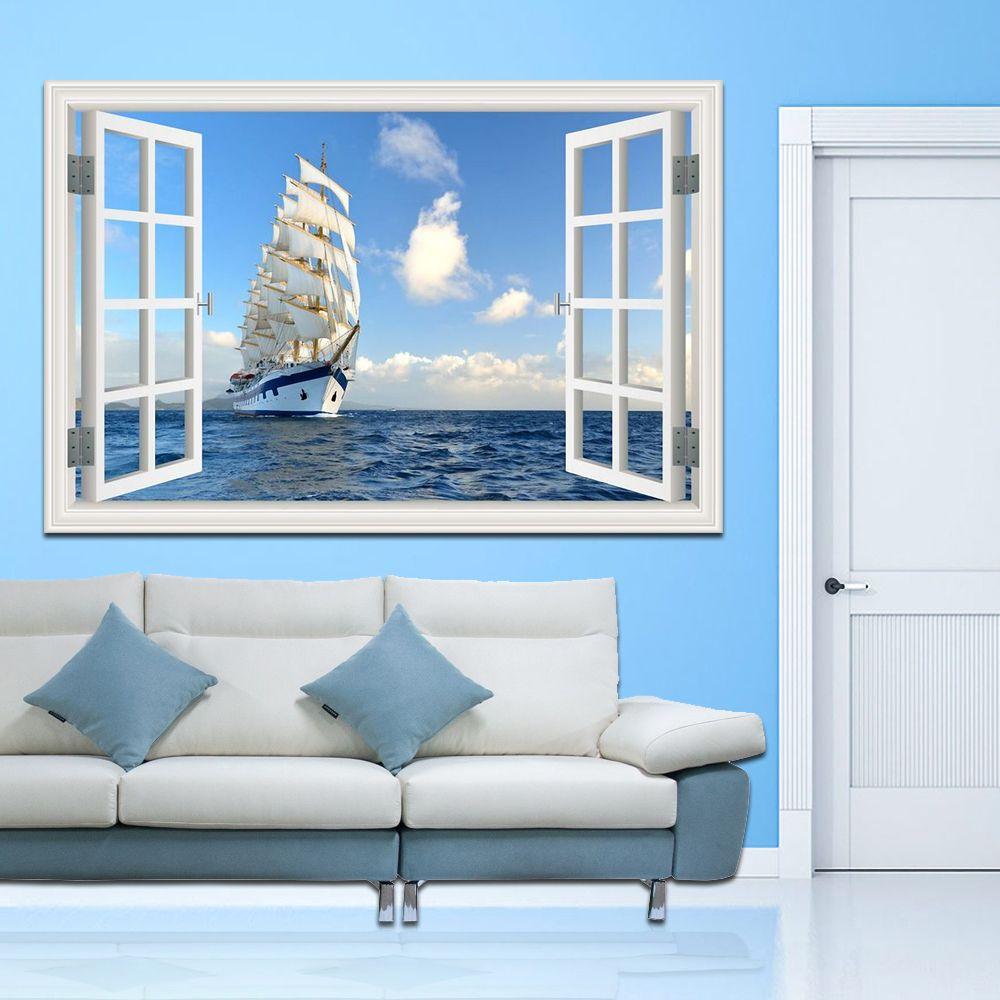 Bateau à voile sur la Mer Haute Qualité 3D Art Mural Autocollant Mural Amovible Voilier Mer Paysage Créatif Fenêtre Maison décor