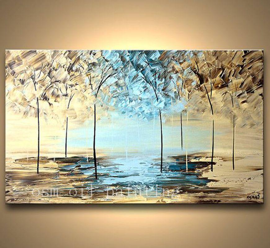 Расписанную текстуры современный цветения картина лесной пейзаж абстрактный Ножи Палитры картина маслом на холсте стены Книги по искусств...
