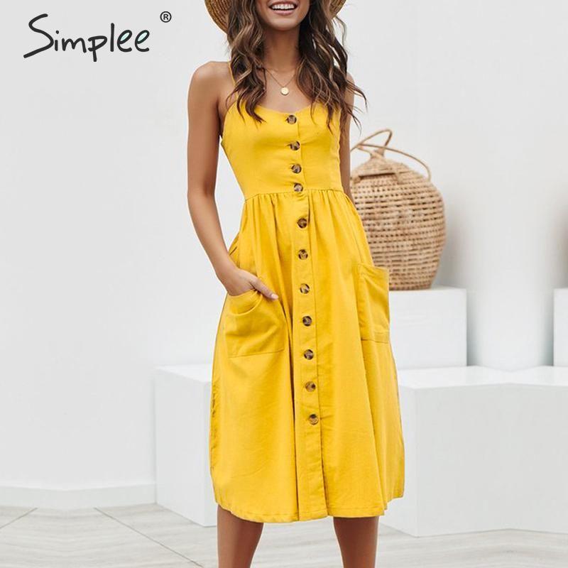 Simplee élégant bouton femmes robe poche à pois jaune coton robe d'été décontracté femme grande taille dame plage vestidos