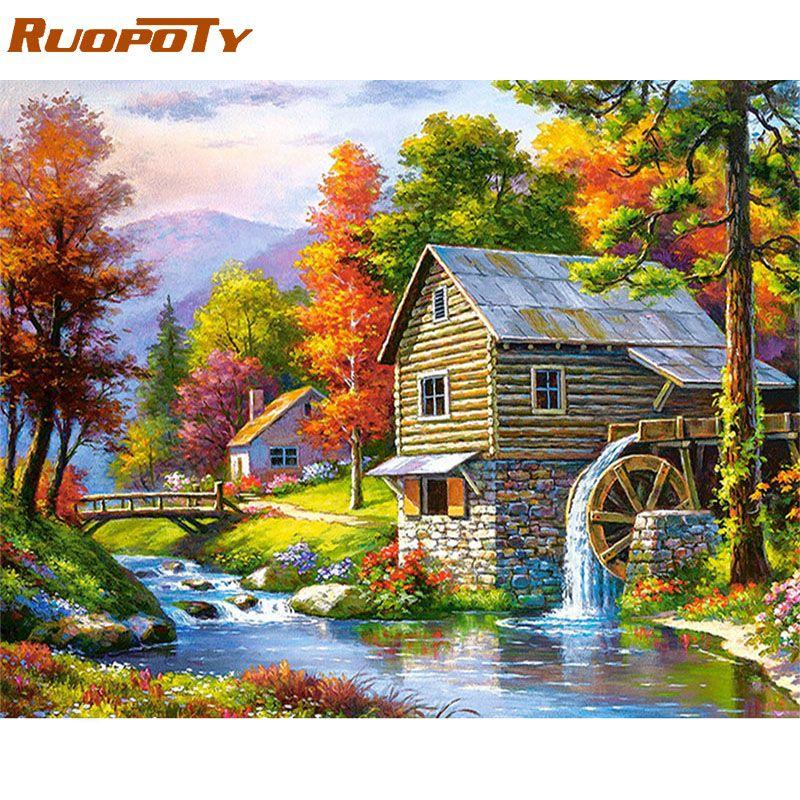 Cadre RUOPOTY 60x75cm paysage peinture à la main par numéros Kit peinture rurale par numéros cadeau Unique pour salon décor à la maison Arts