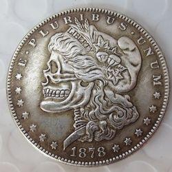 Ee.uu. 1878cc Morgan Dollar cráneo zombi esqueleto tallado a mano copia monedas