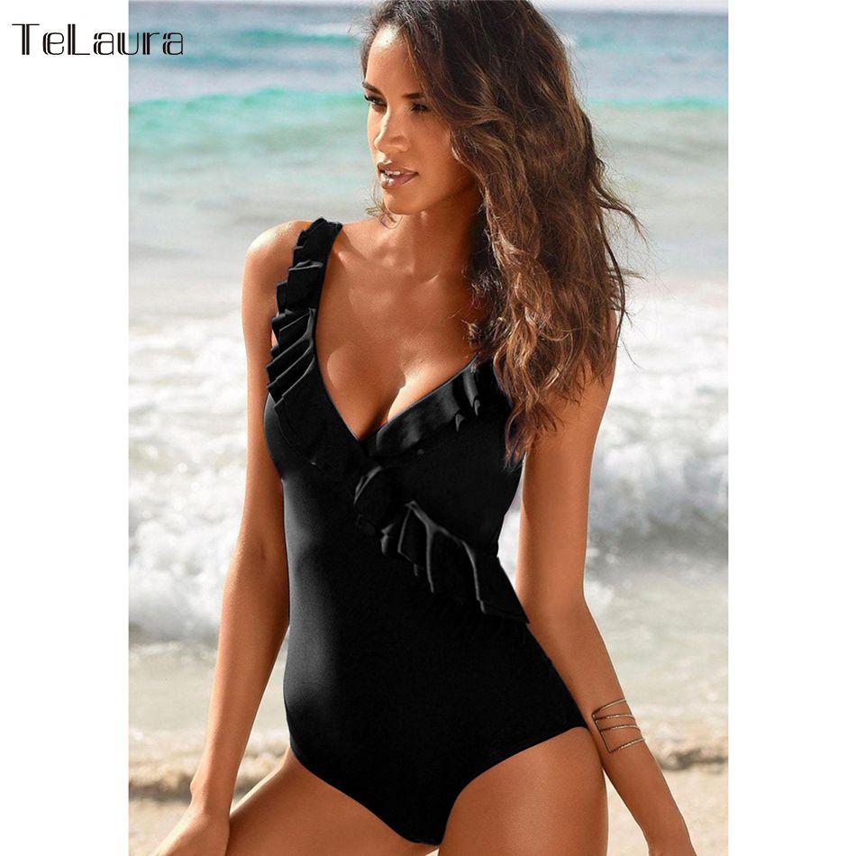 2019 New Vintage One Piece Swimsuit Women Swimwear Push Up Bathing Suit Ruffle Monokini Beach Wear Retro Swim Suit Female Beach