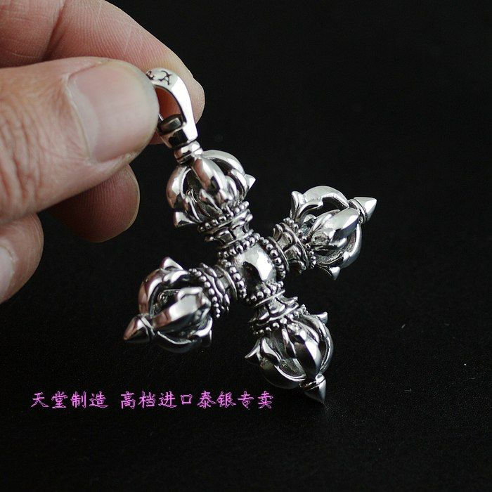 Tantrism instruments cross jingangchu silver pendants , 925 pure silver