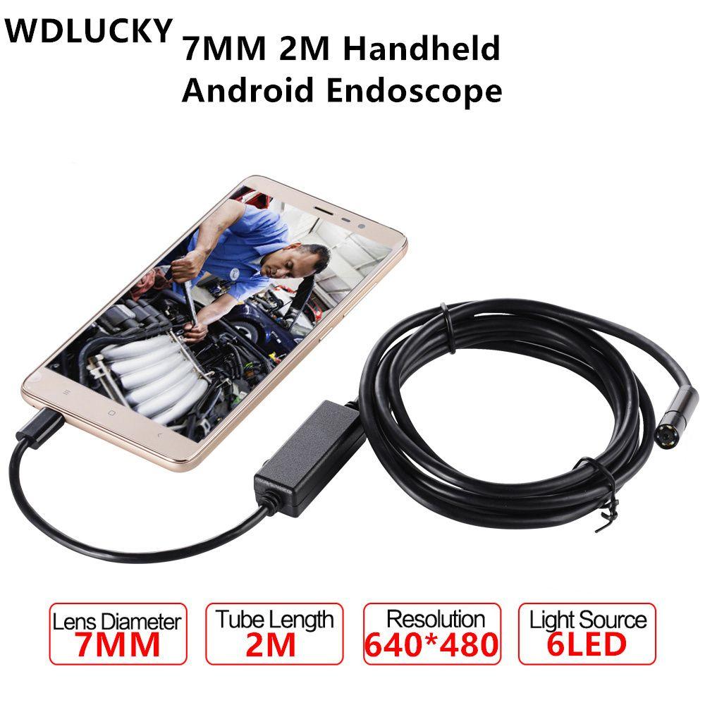 Wdlucky эндоскопа 7 мм 2 м Android enoscope IP67 Водонепроницаемый осмотр бороскоп змея трубки жесткий кабель USB эндоскопа Камера
