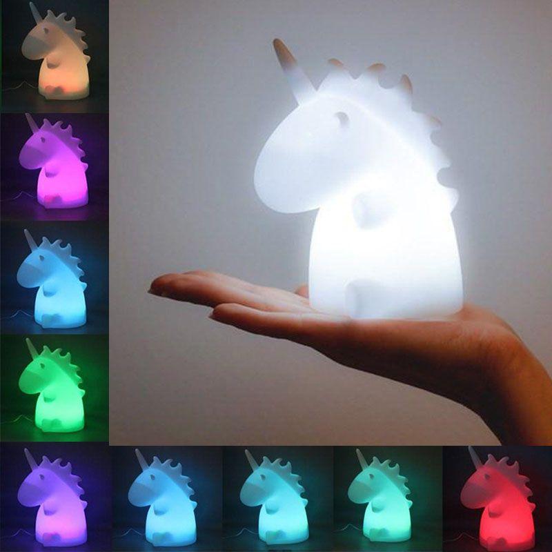 NEW 2017 Unicorn Lamps Night Light Cartoon Pets Sleep Kids Lamp Night light Gifts for Children Cute Baby Bedroom