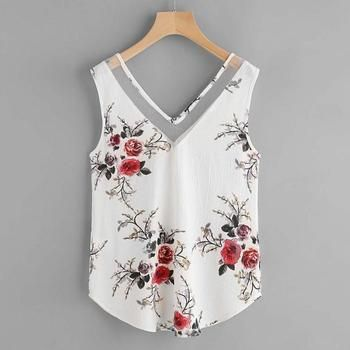 Autruche libre Femmes En Mousseline de Soie Shirt Floral Casual Blouse Sans Manches 2018 d'été tops Mode D10