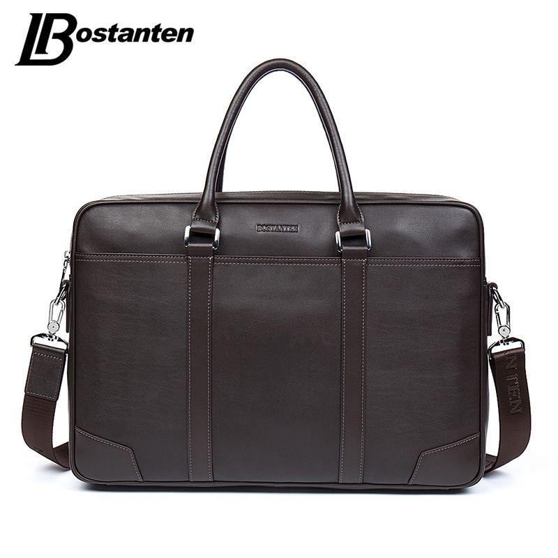BOSTANTEN Cow Genuine Leather bag Business Men bags Laptop Tote Briefcases <font><b>Crossbody</b></font> bags Shoulder Handbag Men's Messenger Bag