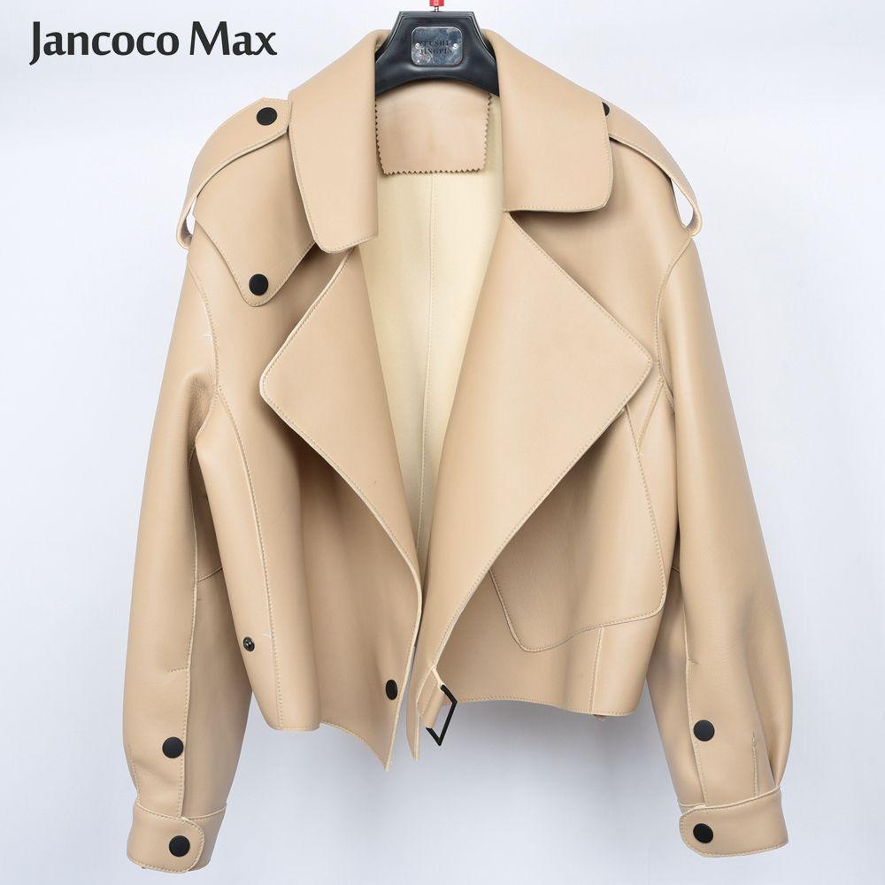 2019 neue Ankunft frauen Echte Schaffell Leder Jacken Top Qualität 5 Farben Echtes Leder Mantel Mode Jacken Dame S7547