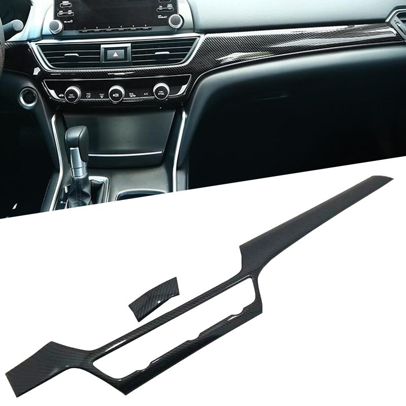 2PCS Interior Front Console Dashboard ABS Console Center Dashboard Trim Strip For Honda Accord sedan 10th 2018 2019 LHD