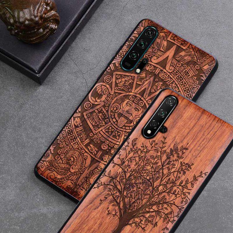 Etui Honor 20 Boogic Original bois véritable funda Huawei Honor 20 Pro palissandre TPU coque arrière antichoc coque téléphone Honor20