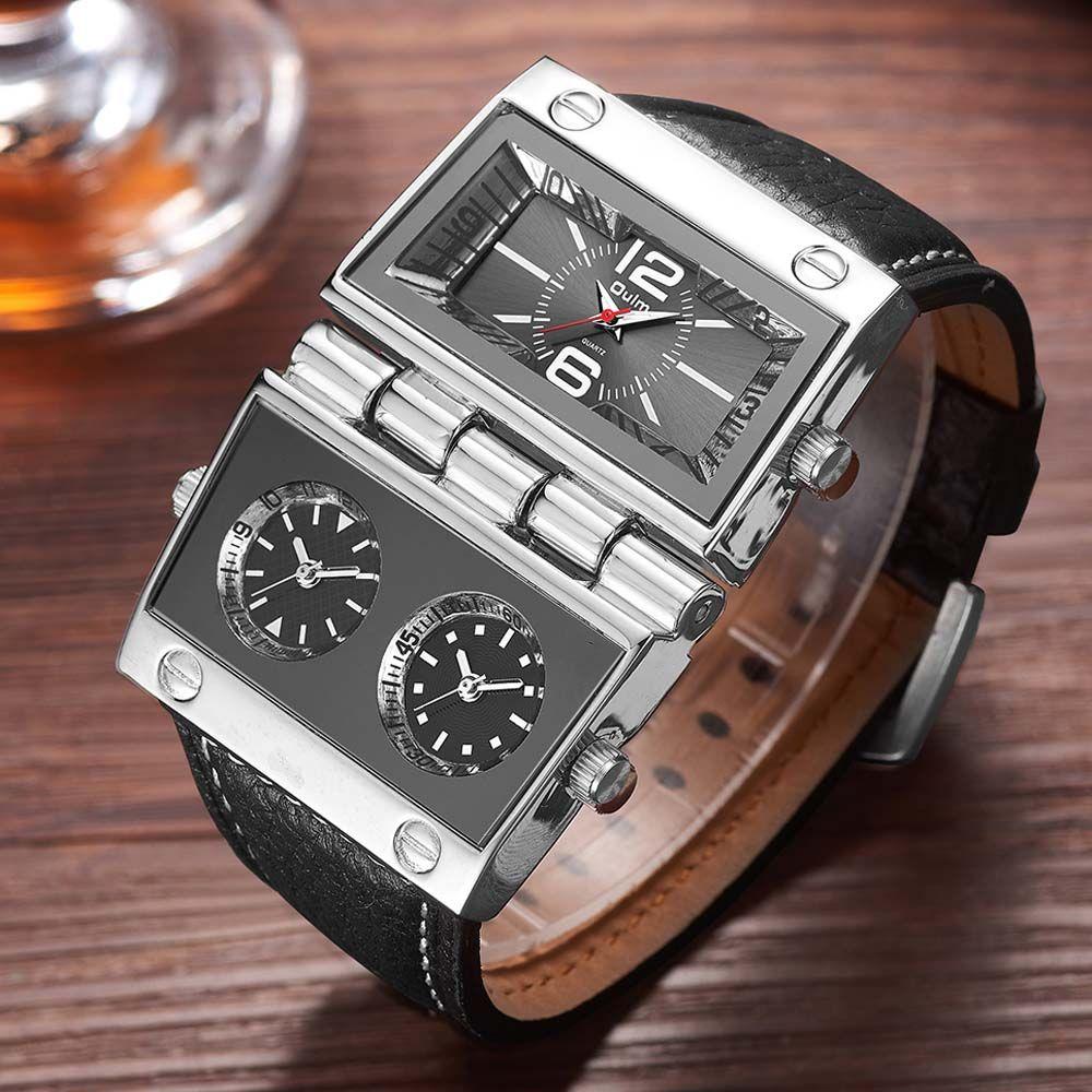 Oulm Watch Men Fashion Sports Military Watch Unique Watches Two Different Rectangle Big Dials Quartz Watches 2018 Men Watch