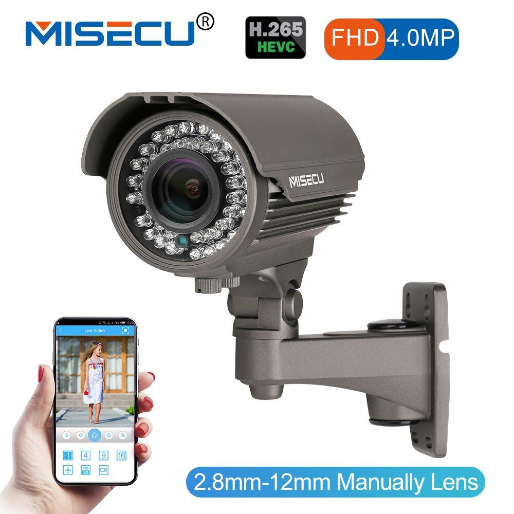 MISECU 4.0MP H.265/H.264 48V POE 2.8-12mm Hi3516D OV4689 IP Camera WDR RS485 protocol ONVIF 2592*1520 Metal ip Camera Night View