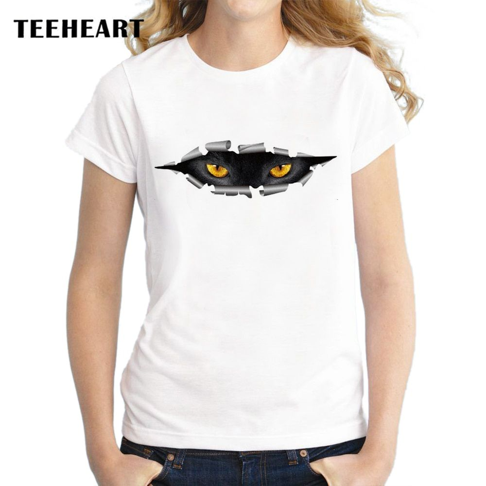 TEEHEART 2017 New Fashion Brand Cool Night cat's Sharp Eyes Print O-neck Female T-shirt Summer Women Youth Hipster Tees pc620