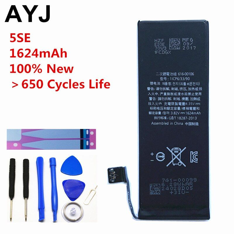 AYJ AAAAA Quality Battery for iPhone SE 5SE Real Capacity 1624mAh <font><b>Zero</b></font> 0 Cycle Free Repair Tools Kit Battery Tape