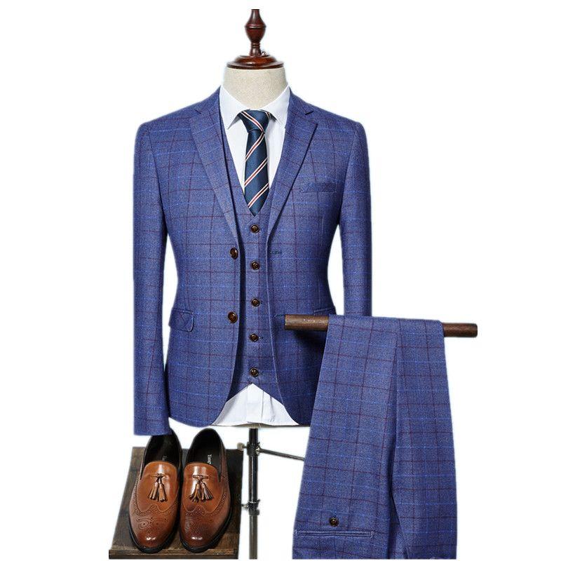 (Jacke + Weste + Hosen) 2018 Hohe qualität Männer Anzüge Fashion grid männer Slim Fit business hochzeit Anzug männer Hochzeit anzug