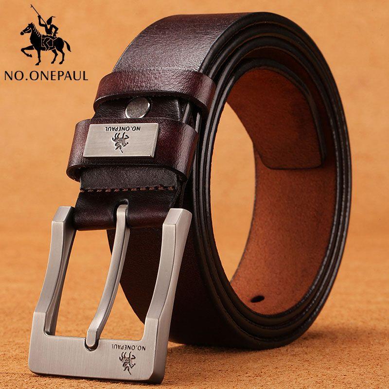 NO. ONEPAUL vache véritable en cuir bracelet de luxe mâle ceintures pour hommes nouvelle mode classice broche rétro boucle hommes ceinture qualité supérieure