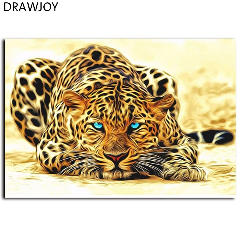 Frameless Pictures DIY Painting By Numbers Of  Leopard Animals Oil Painting On Canvas Home Decoration Wall Aar 40*50cm GX4175