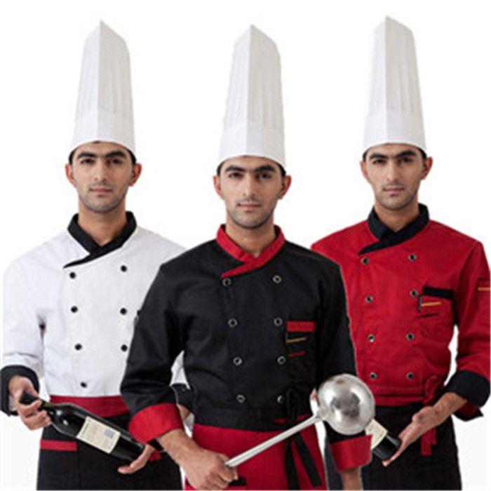 Haute qualité 2018 manches longues hommes Chef service Hôtel vêtements de travail Restaurant femmes À Double Boutonnage uniforme de Chef cuisinier veste