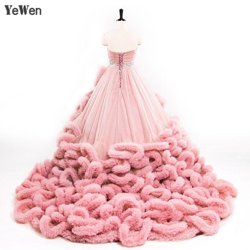 YeWen Luxury Princess Red Pink Cloud plus size Ball Gown Wedding Dresses 2018 bride dress vestidos de noiva robe de mariage