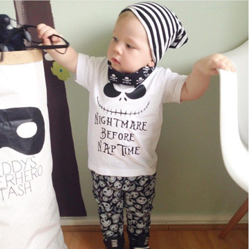 Bébé garçon fille vêtements nouvel été bébé fille vêtements ensemble coton à manches courtes 2 pièces costume Top + pantalon cauchemar avant l'heure de la sieste imprimer