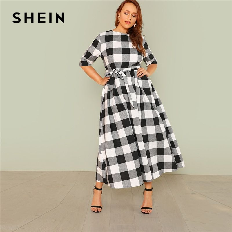 SHEIN Self Belted Gingham Dress 2018 Summer Round Neck Half Sleeve Plaid Retro Maxi Dress Women Plus Size Casual Dress