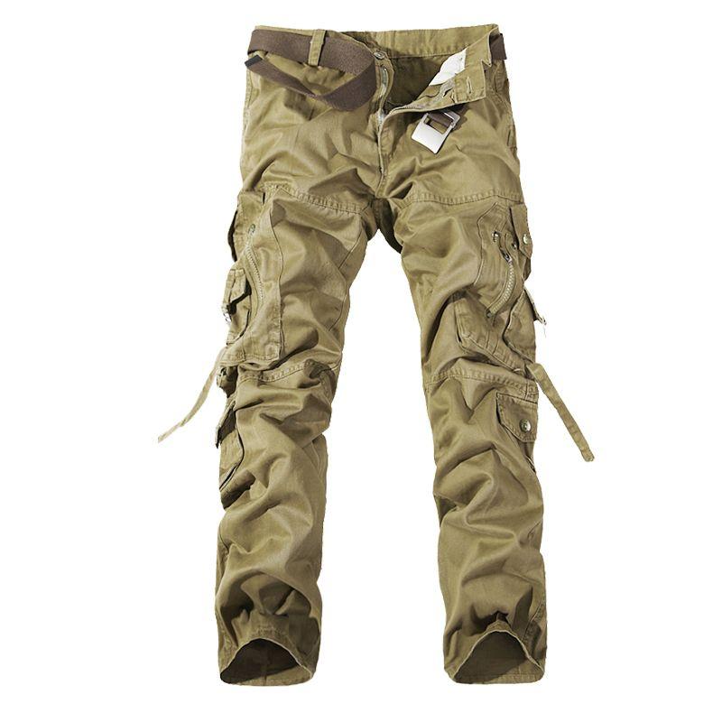 Новинка 2017 года Для мужчин Брюки карго Army Green серый, черный цвет большие карманы украшения Повседневное легко мыть мужские осенние брюки Бес...