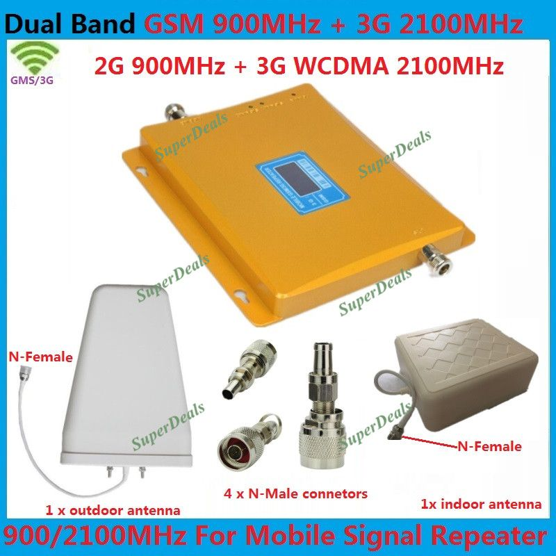 LCD Booster ! 3G W-CDMA 2100MHz + 2G GSM 900Mhz Dual Band Cell Phone Signal Booster GSM 900 2100 UMTS Signal Repeater Amplifier