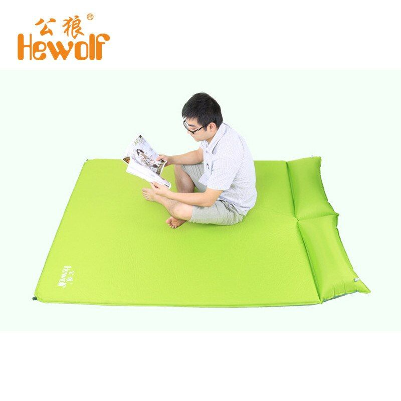 Hewolf 2 Person Automatic Inflatable Mattress Sleeping Mat Moisture Pad with Pillow Blowout Proof Design for Outdoor Activities
