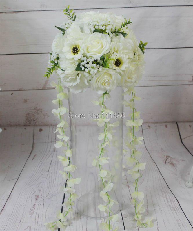 SPR nouveau!! livraison gratuite! 10 pcs/lot mariage route plomb fleurs artificielles table de mariage pièce maîtresse boules de fleurs décorations