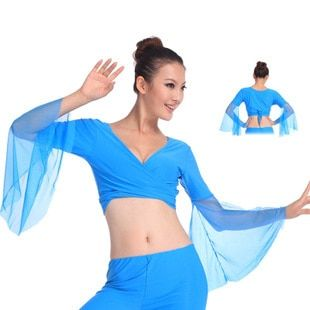 2016 caliente popular de las mujeres atractivas gasa lago azul tops de danza del vientre traje de baile dress on sale