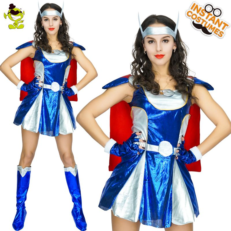 Sexy Thor Woman Costumes Carnival Party Cool Thor Woman Role Play Fancy Dress Adult Women Brave Superhero Thor Girls Decoration