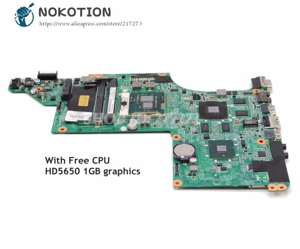 NOKOTION 615279-001 630279-001 603642-001 For HP Pavilion DV6 DV6-3000 Laptop Motherboard DA0LX6MB6H1 HD5650 GPU Free CPU