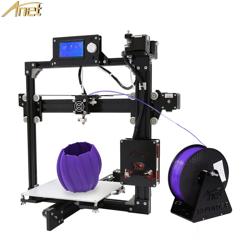 Anet A2 3D Printer Easy Assemble Reprap Prusa i3 Kit DIY Black Full Metal with 10m Free Filament Large Printing Size