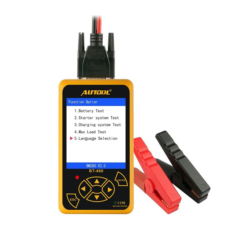 BT-460 Battery Tester Lead-acid AGM GEL Battery Cell Analyzer for 12V Vehicle 24V Heavy Duty 4 TFT Colorful Display