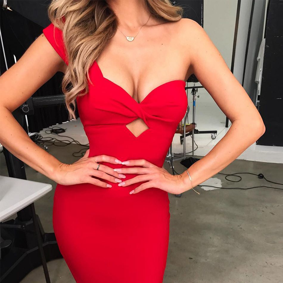 Seamyla Sexy robes de pansement 2019 nouvelle mode une épaule moulante célébrité robe de soirée blanc rouge noir Vestidos Clubwear