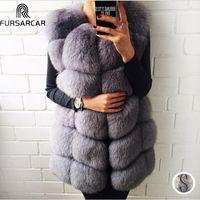 FURSARCAR Real Natural Chaleco de piel de las mujeres abrigo de piel de zorro 2018 nuevo de lujo mujer chaqueta de piel gruesa caliente larga de piel de invierno chaleco chaleco
