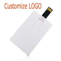 Plastik Putih Kartu Kredit/Kartu Kustom Logo Bisnis Desain USB Flash Drive Tongkat 4GB 8 Gb 16GB 32GB (10 Pcs Dapat Mencetak Logo)