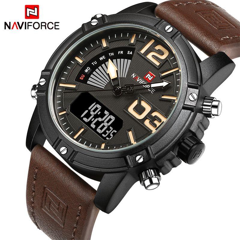2018 NAVIFORCE Men's Fashion Sport Watches Men Quartz Analog LED Clock Man Leather Military Waterproof Watch Relogio Masculino
